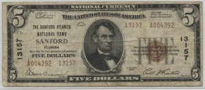 1929 Type 2 $5 Note Charter #13157