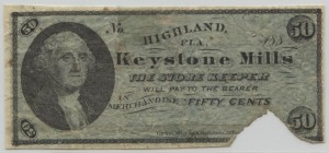 188_ Keystone Mills 50 Cent Note