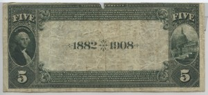 1882 Date Back $5 Note Charter #4672