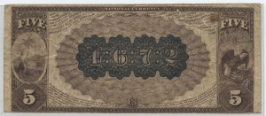 1882 Brown Back $5 Note Charter #4672
