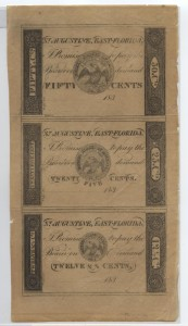 183_ Rare Uncut Sheet of 12 1/2 Cent, .25 Cent, and .50 Cent Scrip