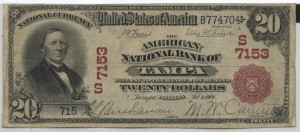 1902 Red Seal $20 Note Charter #7153