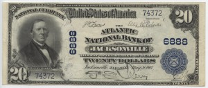 1902 Plain Back $20 Note Signed G.E. Therry, Cash. and Lane, Pres. Charter #6888