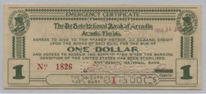 The Desoto National Bank of Arcadia $1 Emergency Certificate
