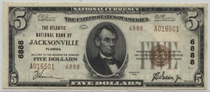 1929 Type 2 $5 Note Charter #6888