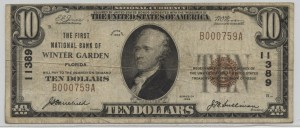 1929 Type 1 $10 Note Charter #11389
