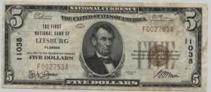 1929 Type 1 $5 Note Charter #11038