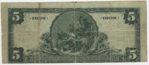 1902 Date Back $5 Note  Signed W.A. Redding, Cash. and C.E. Garner, Pres. Charter #8321