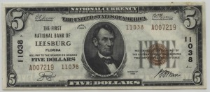 1929 Type 2 $5 Note Charter #11038