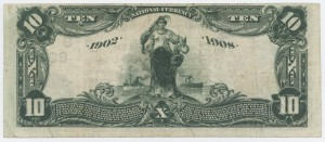 1902 Date Back $10 Note Signed G.J. Avent, Cash. and Arthur F. Perry, Pres. Charter #S8321
