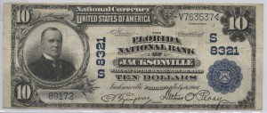 1902 Plain Back $10 Note Signed Charles Campbell, Cash. and Arthur Perry, Pres. Charter #S8321