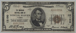1929 Type 1 $5 Note Charter #12100