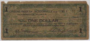 1933 Citizens Bank of Jacksonville $1