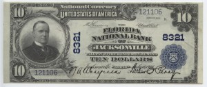 1902 Plain Back $10 Note Signed Wakefield, Cash. and Perry, Pres. Charter #8321