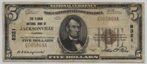 1929 Type 1 $5 Note Signed Wakefield, Cash. and Perry, Pres. Charter #8321