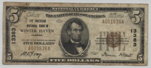 1929 Type 1 $5 Note Charter #13383