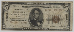 1929 Type 2 $5 Note Charter #13383