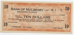 1933 Bank of Mulberry $10