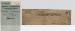 1862 $1 Note (Only Note Known) from Harley L. Freeman Collection