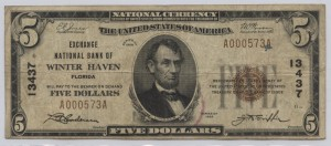 1929 Type 1 $5 Note Charter #13437