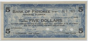 1933 Bank of Pahokee $5