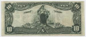 1902 Date Back $10 Note Signed Hendley, Cash. and Heard, Pres. Charter #S10136
