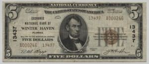 1929 Type 2 $5 Note Charter #13437