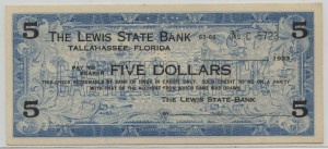 1933 The Lewis State Bank $5