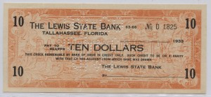 1933 The Lewis State Bank $10