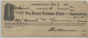 $50,000 Check issued from The Heard National Bank of Jacksonville