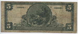 1902 Date Back $5 Note Signed R.E. Wheeler, Cash. and Adams, Pres. Charter #S9049