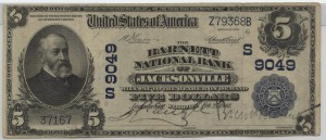 1902 Plain Back $5 Note Signed L'Engle, Cash. and Barnett, Pres. Charter #S9049