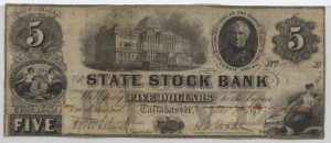 1853 $5 B Plate Note