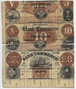 Reconstructed Partial Sheet of Bank of Commmerce Notes from State of Florida 10 Cent & 25 Cent sheets showing a $10 Note (unknown any other way)