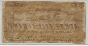 1861 .25 Cent Note