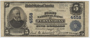 1911 Plain Back $5 Note Charter #4558