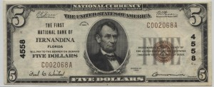 1929 Type 1 $5 Note Charter #4558