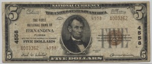 1929 Type 2 $5 Note Charter #4558