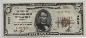 1929 Type 1 $5 Note Charter #9007