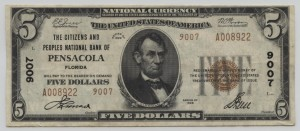 1929 Type 2 $5 Note Charter #9007