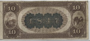 1882 Brown Back $10 Note Charter #S4837