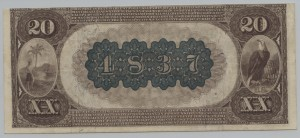 1882 Brown Back $20 Note Charter #4837