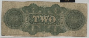 1863 $2 3rd Type Issued Note Green Back