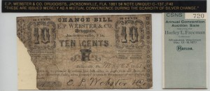 1861 5 Cent Note Unique! from Harley L. Freeman Collection