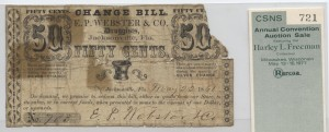 May 22, 1861. 50 Cent Note Signed E.P. Webster from Harley L. Freeman Collection
