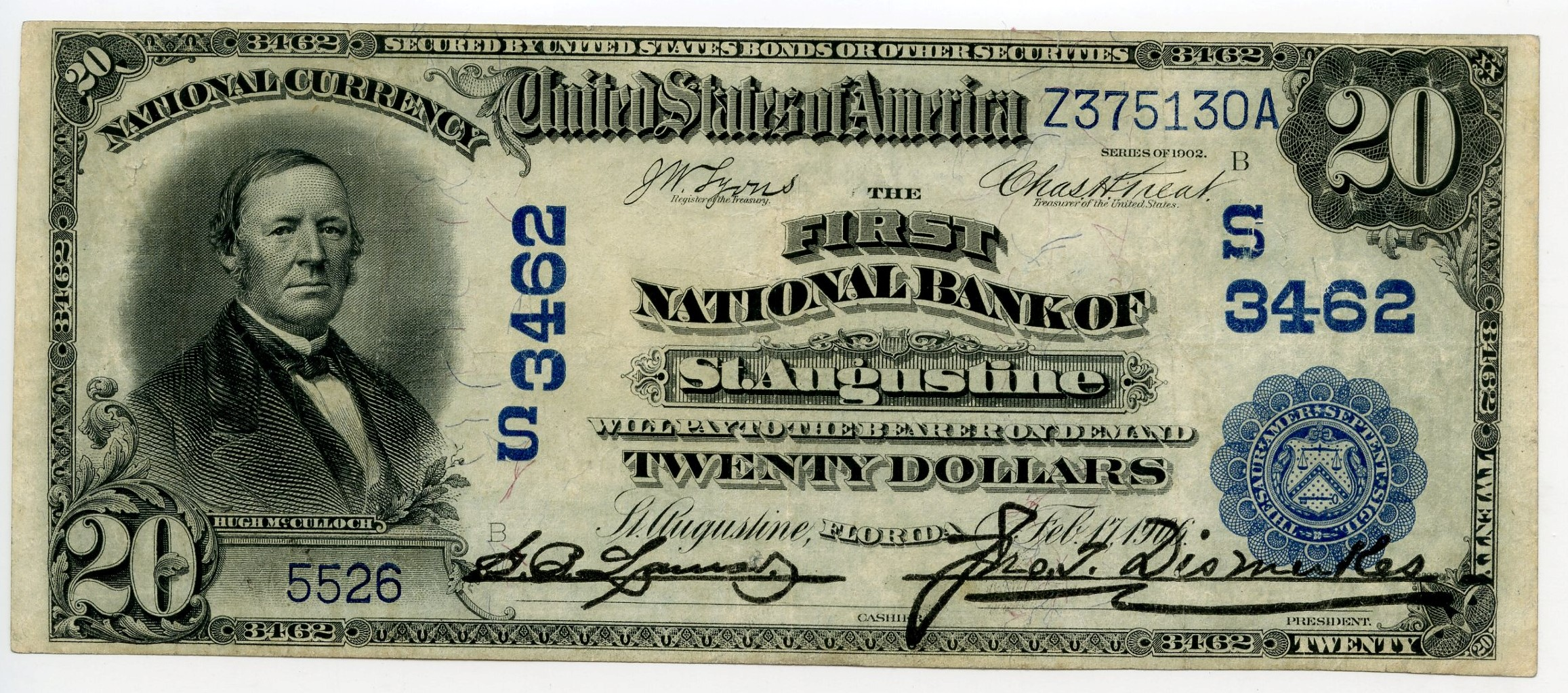 $20 St. Augustine Note Charter #3462   Hometown Currency