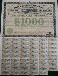 1877 The Florida Central Railroad Company  $1000 Bond