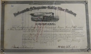 1886 Jacksonville, St. Augustine and Halifax River Railway Company. Signed H.M. Flagler as President