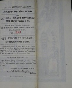1871 State of Florida Bond, $1000 or 200 Pounds Sterling. The Southern Inland Navigation & Improvement Company's