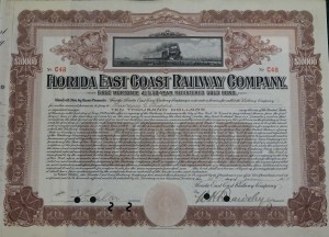 1912 Florida East Coast Railway Company.  $10,000 Bond